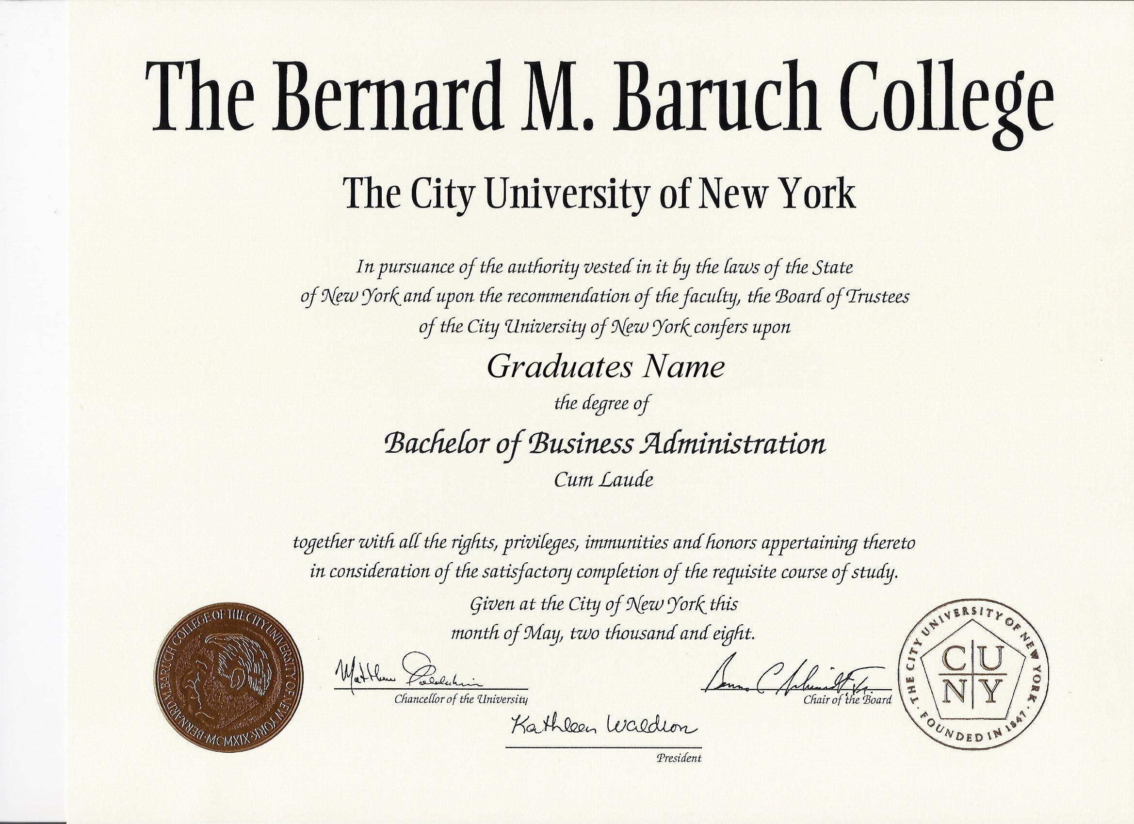 bernard m baruch college graduation gift